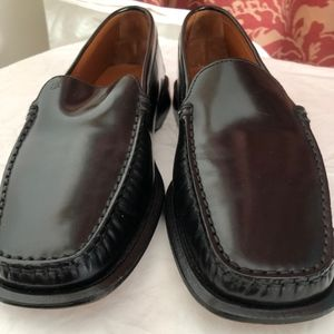 Tods black square toe loafer